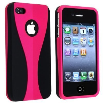 Primary image for PINK BLACK 3 PIECE HARD CASE skin COVER protector for apple IPHONE 4 4G 4S 4GS