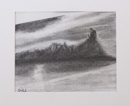"Charcoal chalk drawing doodle by Hudson Valley artist Bryan Henry ""Adirondacks"""