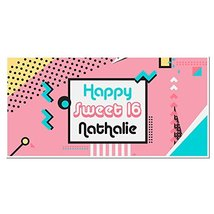 Pop Art Sweet Sixteen 16 Birthday Banner Personalized Party Backdrop - $24.63