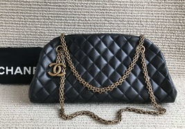 Authentic Chanel Black Bowling Bag Quilted CALFSKIN GHW