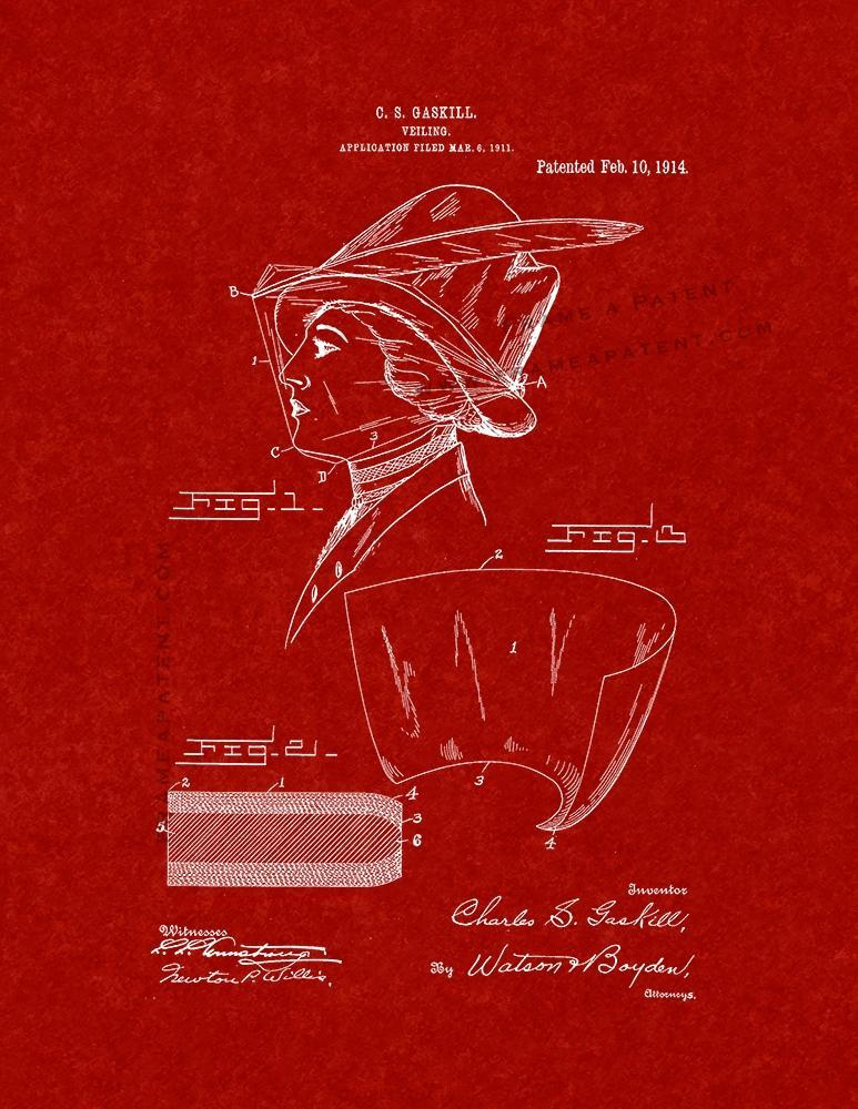 Primary image for Veiling Patent Print - Burgundy Red