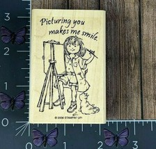 Stampin' Up! Picturing You Makes Me Smile Rubber Stamp 2006 Child Painti... - $5.94