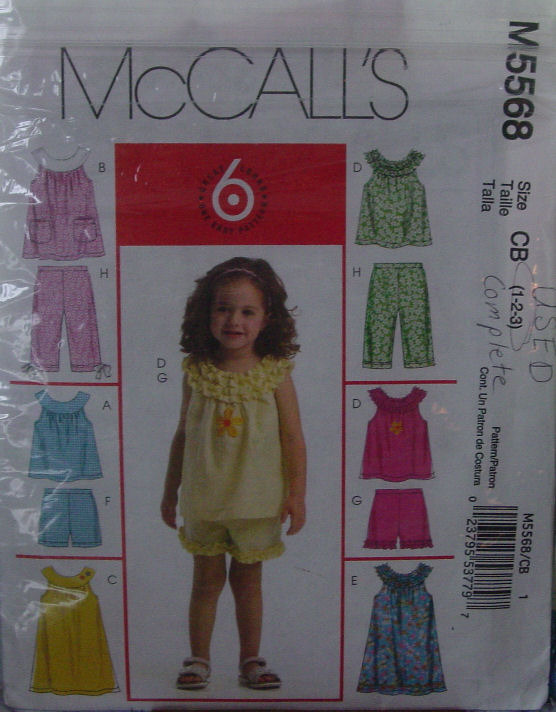 Primary image for Pattern 5568 (used) Toddler Outfits multi sz 1,2,3