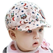 Cute Baby Beret Toddler Sun Protection Hat Infant Floppy Cap Pink Owl 3-15M