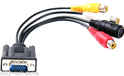 Primary image for VGA SVGA to S-VIDEO svideo 3 RCA TV AV CONVERTER CABLE cord ADAPTER for computer