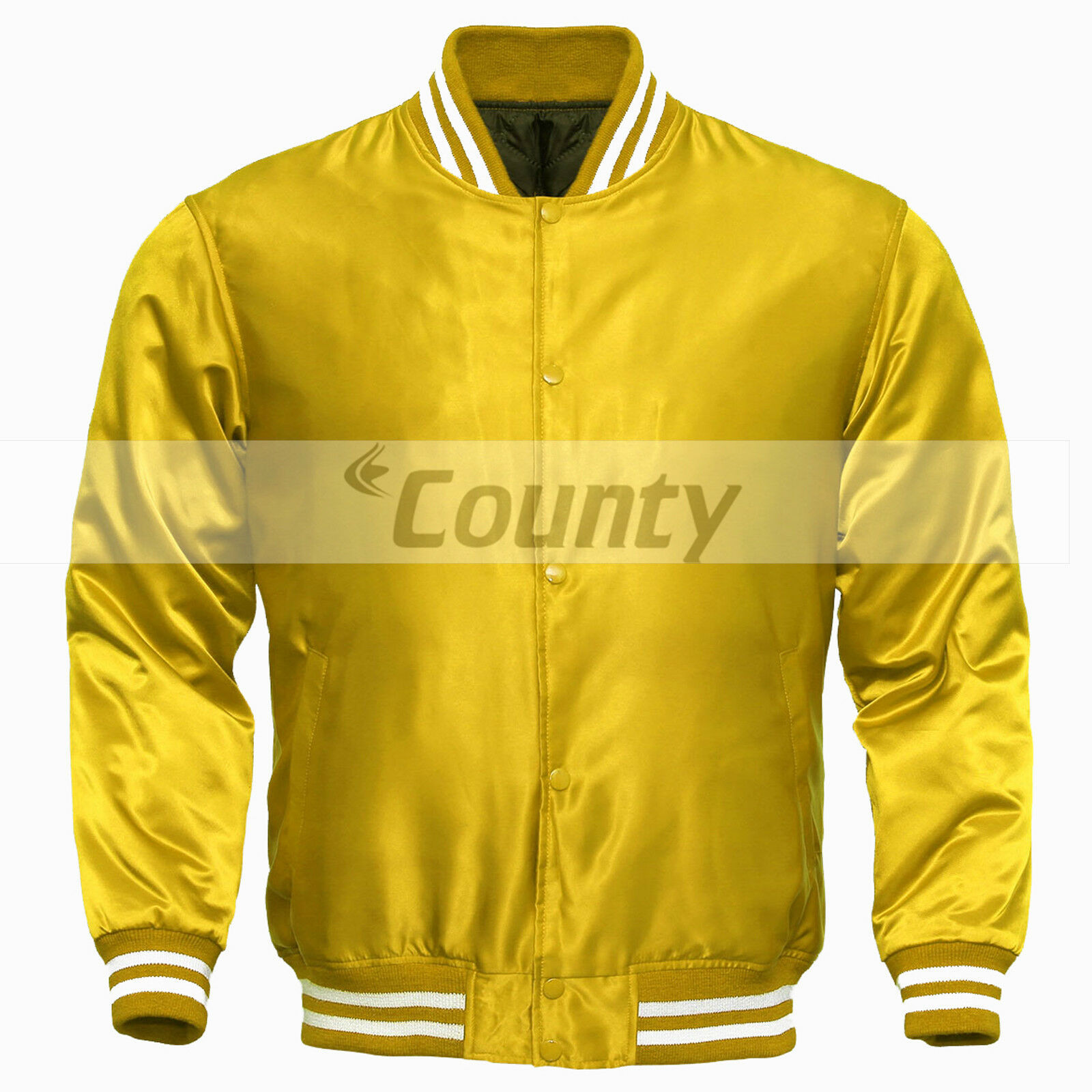 Primary image for Letterman Baseball College Varsity Bomber Super Jacket Sports Wear Yellow Satin