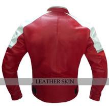 Red w White Black panels Motorcycle Biker Racing Premium Genuine Leather Jacket image 3