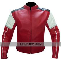 Red w White Black panels Motorcycle Biker Racing Premium Genuine Leather Jacket image 1