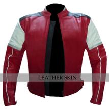 Red w White Black panels Motorcycle Biker Racing Premium Genuine Leather Jacket image 5
