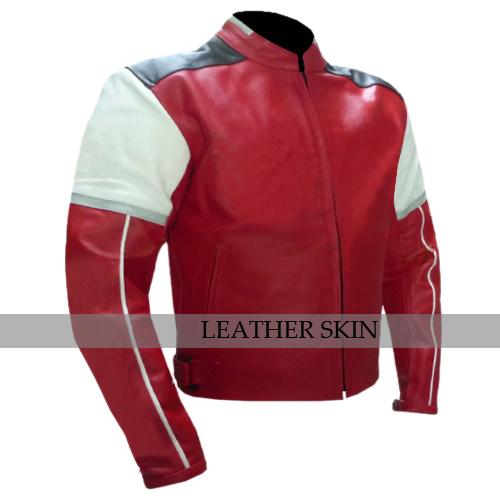 Red w White Black panels Motorcycle Biker Racing Premium Genuine Leather Jacket image 2