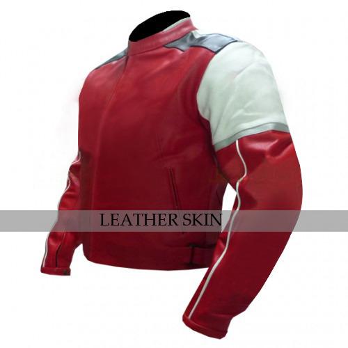 Red w White Black panels Motorcycle Biker Racing Premium Genuine Leather Jacket image 4