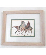 "1990's Carol Grigg ""Man & Women With Horses"" Framed Native Indian Litho ... - $74.99"