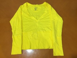 Women's Hanes Yellow Low V-Neck Long Sleeve Shirt Size S Small 100% Cotton - £9.35 GBP