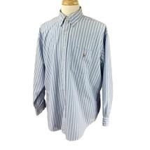 Ralph Lauren Polo Men's Big Shirt Long Sleeve Blue Stripe Oxford Shirt L... - $22.76