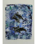 Dolphin Art Monotype Hand Pulled Print Solomon - $40.00