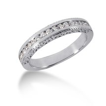 14k White Gold Vintage Style Engraved Diamond Channel Set Wedding Ring Band - $802.50