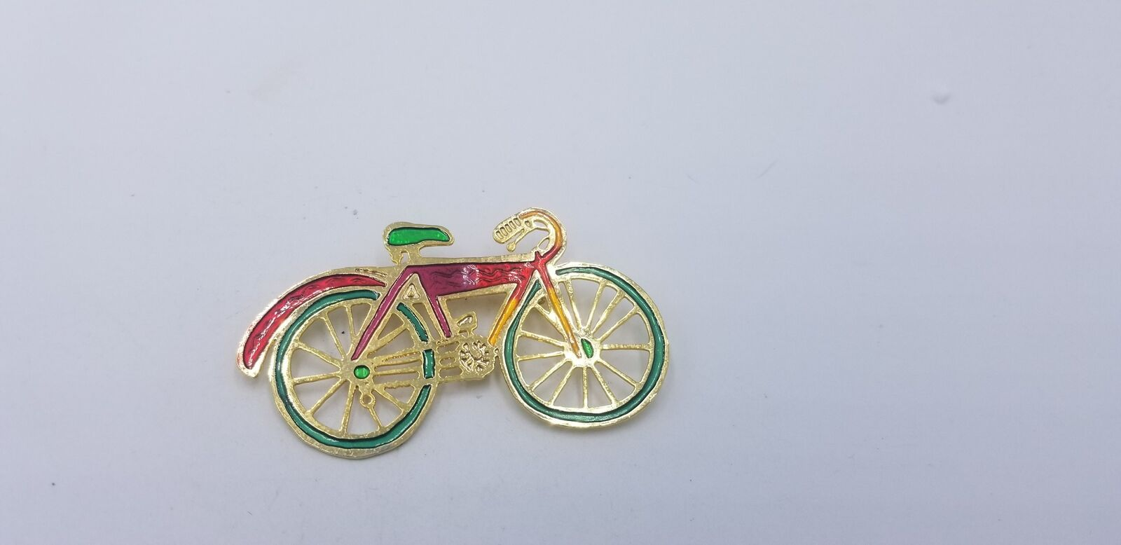 Primary image for Vintage Two Hands Brand Gold Tone Multi Color Enamel Bicycle Pin/Brooch EUC