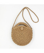 Rattan Handbag Woman Bag Handmade Woven Beach Round Shoulder Crossbody M... - £13.89 GBP