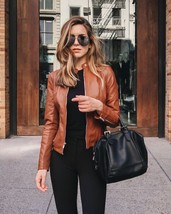 TAB COLLAR GENUINE LAMBSKIN WOMEN BIKER LEATHER JACKET MOTORCYCLE JACKET - $149.00