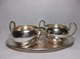 Vtg Asco Silverplate Creamer Sugar & Tray Set tea service marked - $21.58