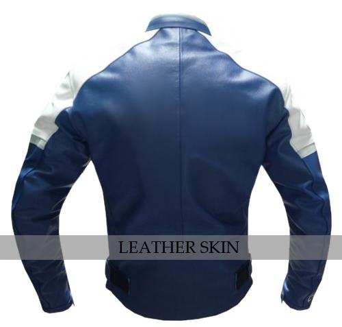 Blue w/ White Black panel Motorcycle Biker Racing Premium Genuine Leather Jacket image 2