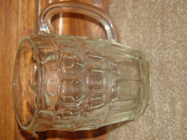 "Winston Thumbprint Mug Glass 5"" Tall"