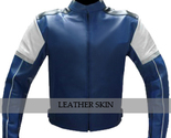 Blue with white panels leather jacket front thumb155 crop