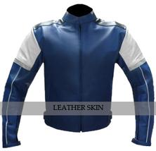 Blue w/ White Black panel Motorcycle Biker Racing Premium Genuine Leather Jacket image 1
