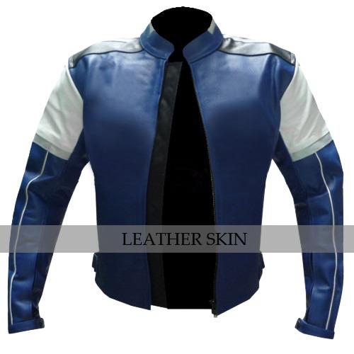 Blue w/ White Black panel Motorcycle Biker Racing Premium Genuine Leather Jacket image 5