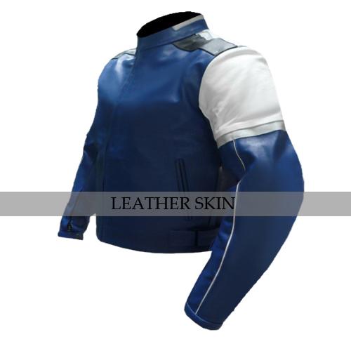 Blue w/ White Black panel Motorcycle Biker Racing Premium Genuine Leather Jacket image 4
