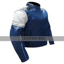 Blue w/ White Black panel Motorcycle Biker Racing Premium Genuine Leather Jacket image 3