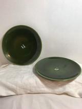 """2 Vtg Gmundner Keramik Austrian Ceramic Pottery Dark Green 7 5/8"""" Plates - $18.69"""