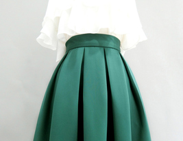 Emerald Green Midi Holiday Skirt Outfit Women Pleated Midi Skirt with Pockets image 5