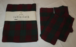 """Tag Tablecloth 52"""" X 52"""" & 4 Napkins 19"""" X 19"""" square red green plaid Ho... - $34.64"""