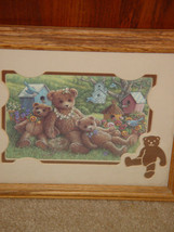 Bear Blue Birds and Bird Houses  With Cut out Bear Wal Art image 2