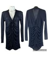 New ISDA & Co sheer Ruched Sweater Morticia Adams M Medium Dark Blue - $22.00
