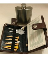 Vintage GOLF Hip Flask Score Chart Holder And Pins - $55.13