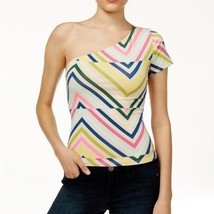 GUESS Womens One Shoulder Geometric Top Size Small Shirt Trippy Tribal -$34 -NWT - $9.79