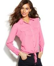 INC International Concepts Top Sz XL Pink Pop Crepe Rayon Knot Button Down  - $24.18