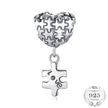 Authentic 925 Sterling Silver Pandora Jigsaw Heart Puzzle Dangle Love Ch... - $19.99