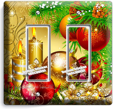 Christmas Tree Ornaments Candles Double Gfci Light Switch Plate Cover Home Decor - $10.77