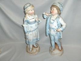 Antique German Bisque Porcelain Figurines Boy & Girl In Blue 1800's #481... - $75.00