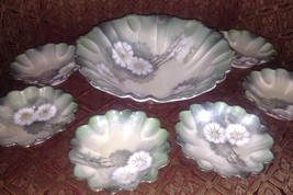 RS Prussia Set Of Bowls Green Luster ware White Flowers Germany - $65.00