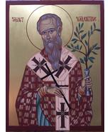 Saint Valentine Icon, Greek Orthodox Icon, Byzantine Icon, handmade orig... - $825.00