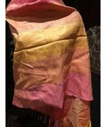 Vintage Thai Silk Peach Yellow Wrap Shawl - $64.35