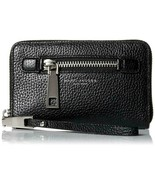 MARC JACOBS Gotham  Leather Zip-Around Phone Wristlet Wallet Black MSRP ... - $93.56