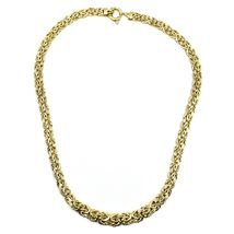 """18K YELLOW GOLD FLAT BYZANTINE NECKLACE CHOKER 7/10mm, 45cm, 18"""", MADE IN ITALY image 4"""