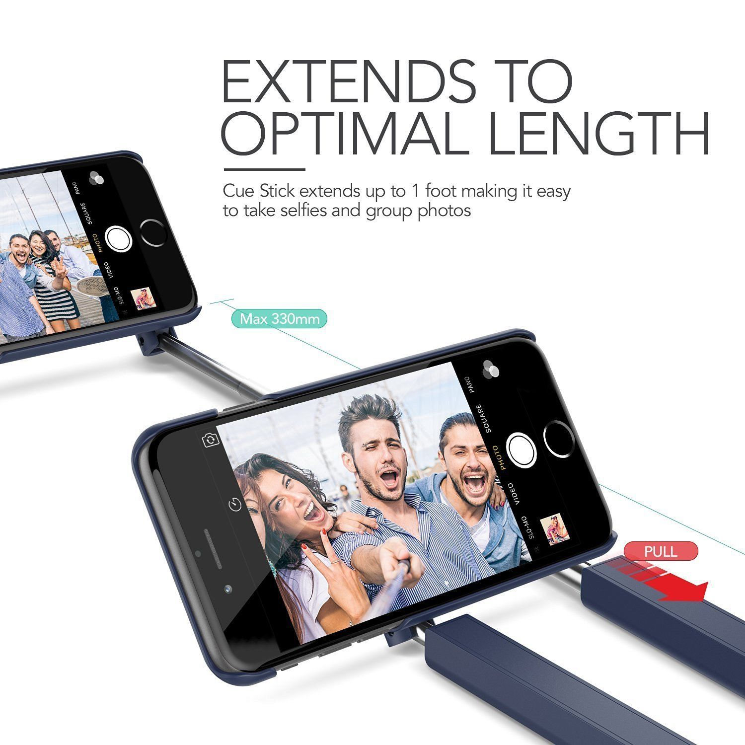 Verus Cue Stick Cases with a built selfie stick for iPhone 7 Blue or Silver