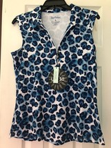 NWT Ladies SAN SOLEIL Navy Blue Leopard Sleeveless Golf Shirt - Medium UPF 50 - $47.99