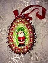 Vtg Handmade Sequin Christmas Ornament Oval Indent Santa Red & Gold Velv... - $10.23